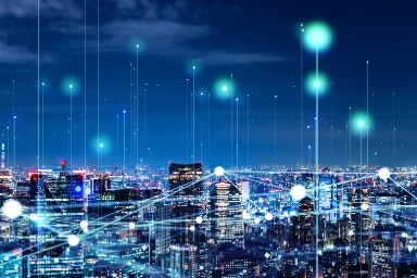 night city scape with network points